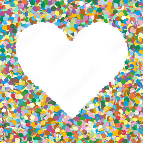 Heart Shaped Colourful Vector Confetti Heap Background with Free ...
