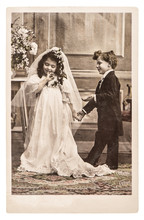 Vinatge Photo Portrait Of Little Girl And Boy In Weding Dressing