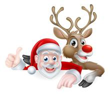 Cartoon Santa And Reindeer