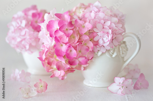Foto op Canvas Hydrangea beautiful pink hydrangea flowers close-up in a ceramic jug on a light background.