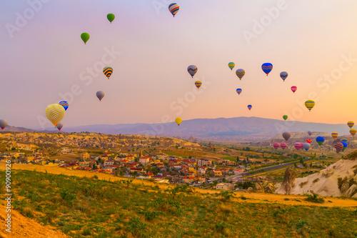 Hot air balloon flying in Cappadocia, Turkey Wallpaper Mural