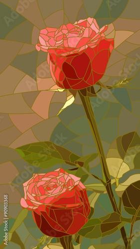 Naklejki witrażowe   wektorowa-ilustracja-kwiat-czerwone-roze