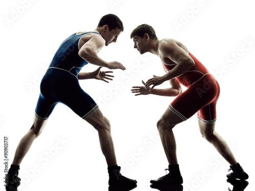 Obrazy Zapasy   wrestlers-wrestling-men-isolated-silhouette