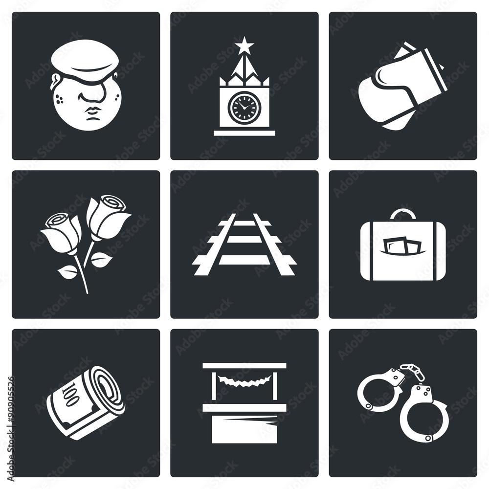 Fotografía  Newcomer migrant icons. Vector Illustration.