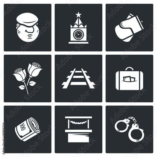 Láminas  Newcomer migrant icons. Vector Illustration.