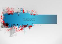 Abstract Grunge Blue Banner Design Element