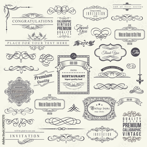 Fotografía  Calligraphic Design Elements, Border Corner Frame