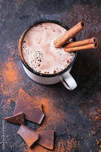 Foto op Plexiglas Chocolade Hot chocolate with cinnamon