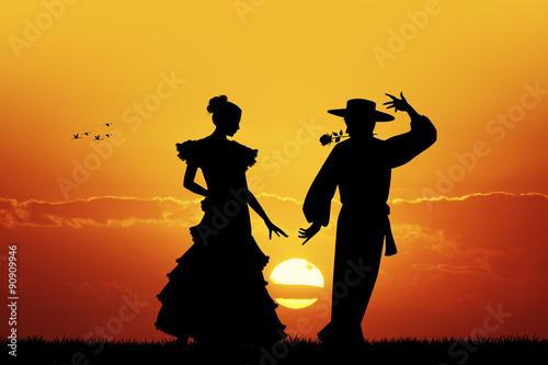 Photographie  Flamenco au coucher du soleil