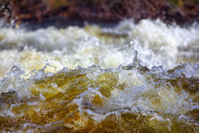 Closeup Of  Rapid Waters Of  River Strong