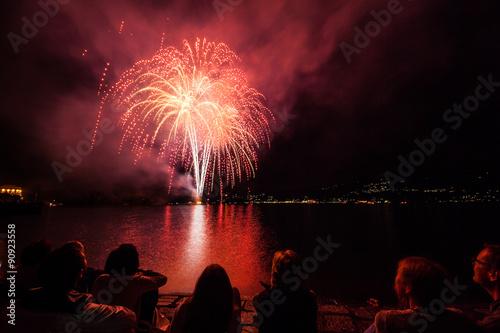 Fotografie, Obraz  Fuochi d'artificio sul lungolago, Verbania, Lago Maggiore, Piemonte, Italia