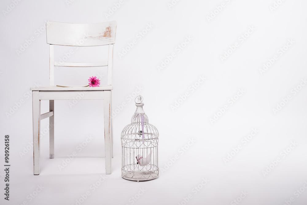 Foto-Lamellen (Lamellen ohne Schiene) - shabby Stuhl mit Käfig
