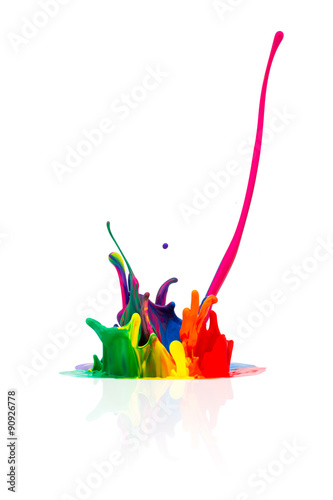 Photo  abstract Colorful paint splashing