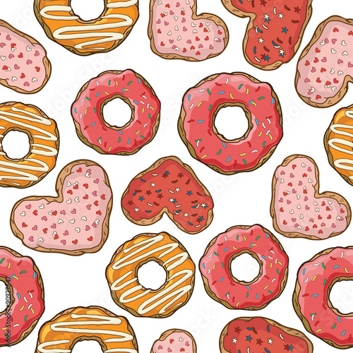Cotton fabric Seamless pattern with donuts and cookies