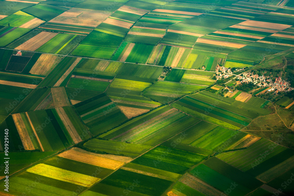 Fototapeta top view aerial photo of settlements and fields
