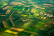 Leinwanddruck Bild - top view aerial photo of settlements and fields