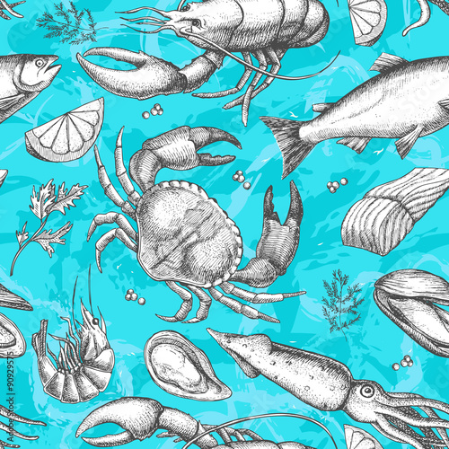 Canvastavla  Vector hand drawn seafood pattern. Vintage illustration