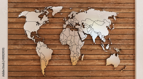 world map on wooden planks - Buy this stock illustration and ...