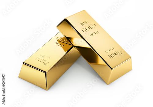 Fotografia  2 złote paski na białym