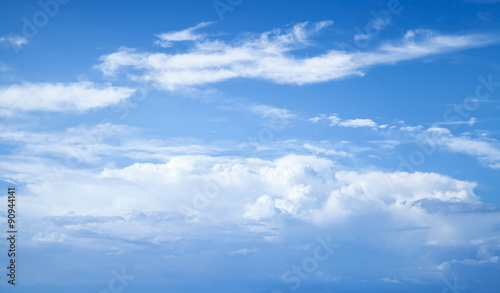 Blue sky with white clouds, abstract natural photo Canvas Print