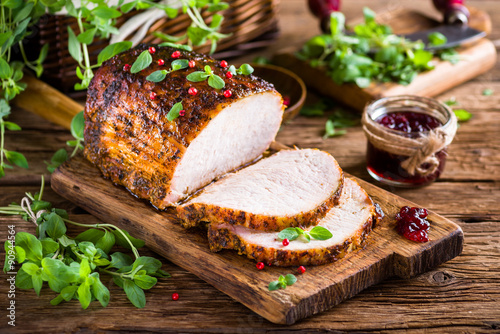 Roasted pork loin with cranberry and marjoram Wallpaper Mural