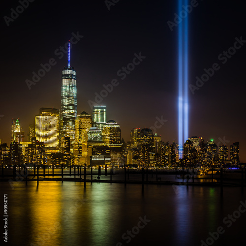 Photo  View of New York City from New Jersey - cityscape including the Freedom Tower