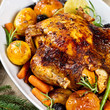 Whole Roasted Holiday Chicken With Potatoes and Apples. Selective focus.