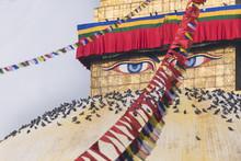 Buddha Wisdom Eyes Of Bodhnath Stupa In Kathmandu, Nepal