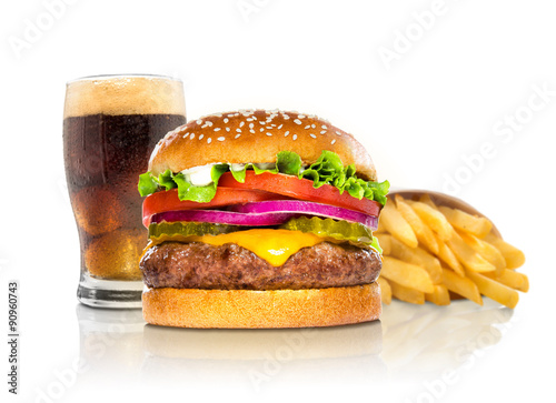 Fotografie, Obraz Hamburger fries and a coke soda pop cheeseburger combination deluxe fast food on