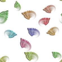 Seamless Pastel Colored Fractal Wings Pattern On White