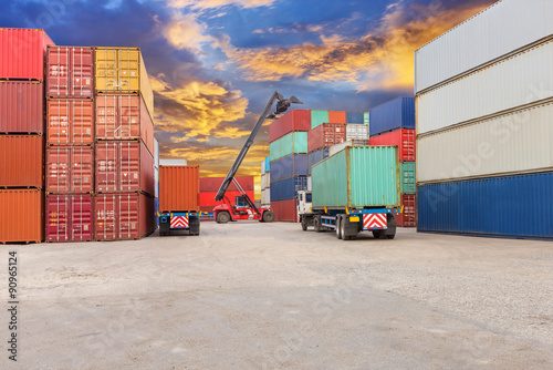 Canvas Print forklift at dockyard with beautiful sky