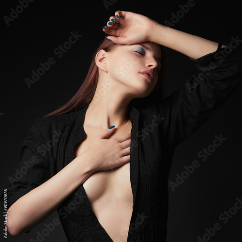 Poster Akt young beautiful woman with Sexy body.breasts of Girl