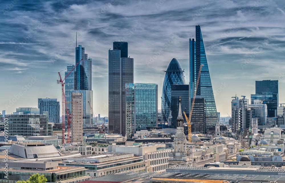 Fototapety, obrazy: London City, Nowoczesna linia horyzontu dzielnicy biznesowej