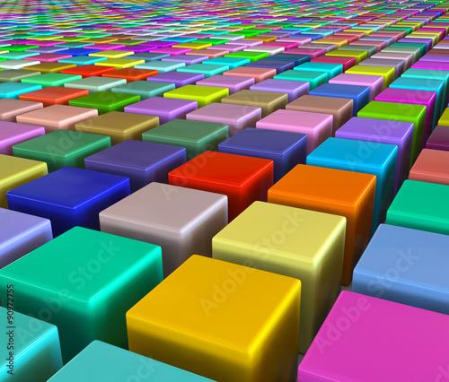 Цветные кубы уложены в ряды. 3d модели
