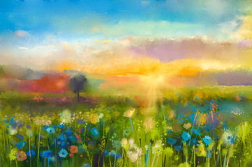 Oil painting flowers dandelion, cornflower, daisy in fields. Sunset meadow landscape with wildflower, hill and sky in orange and blue color background. Hand Paint summer floral Impressionist style