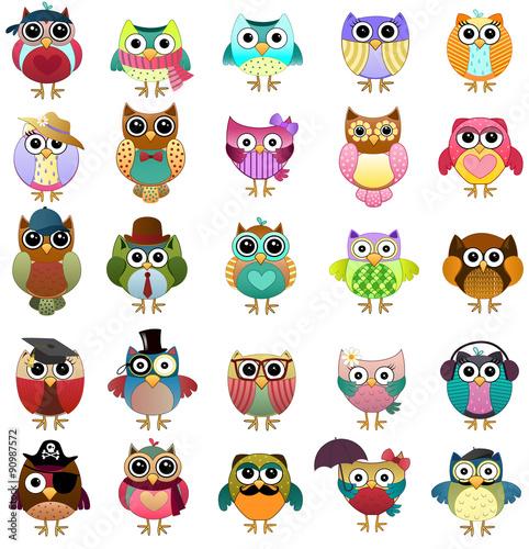 Canvas Prints Cute Owls Set Vector