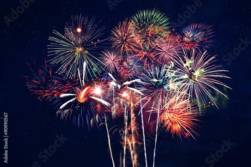 Fireworks at Night Billede på lærred