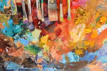 Artist Paintbrushes On Palette