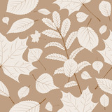 Autumn leaves seamless vector background