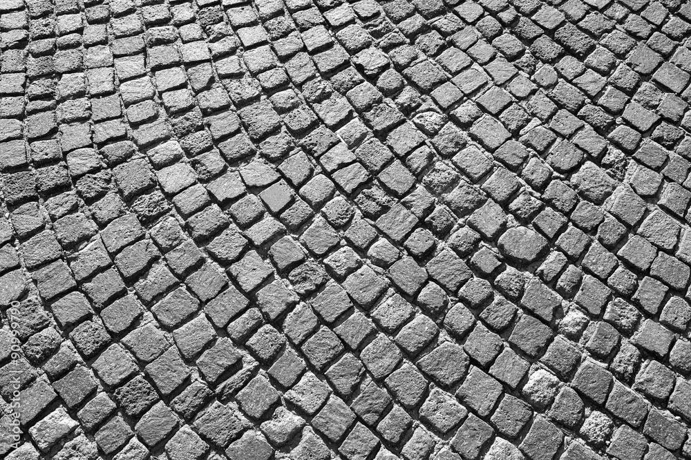 Fototapety, obrazy: Gray granite cobblestone road pavement