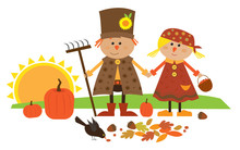 Cute Fall Characters - Cute Vector Illustration Of Scarecrow Couple Holding Hands. Eps10