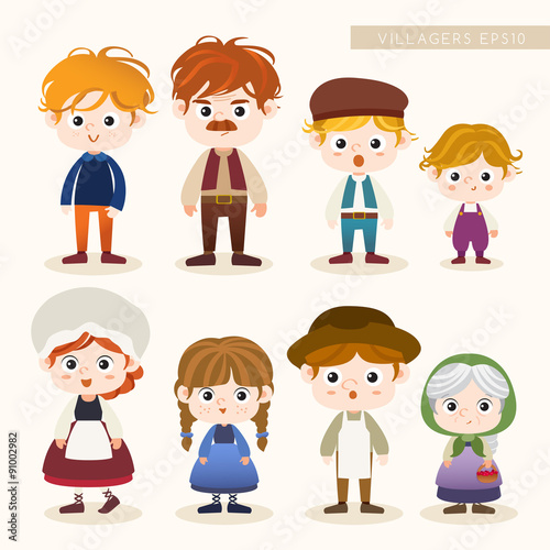 Fotografija Set of Villager characters : Vector Illustration