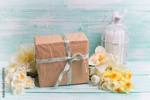 Festive gift boxes with ribbon and flowers