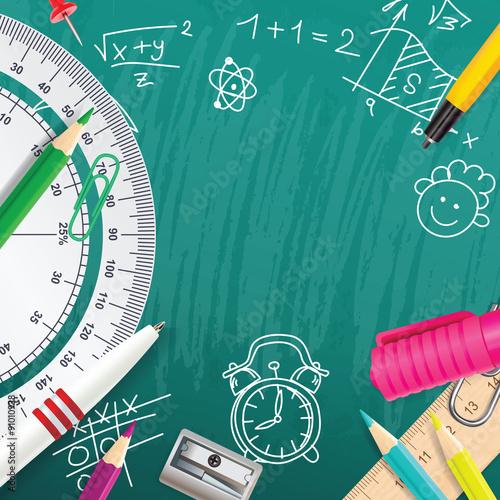 Stampa su Tela  Creative vector chalk background with school supplies