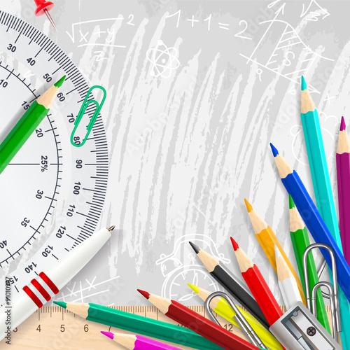 Stampa su Tela  Grey vector chalk background with school supplies