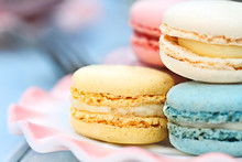 Plate Of Pastel Colored Macarons