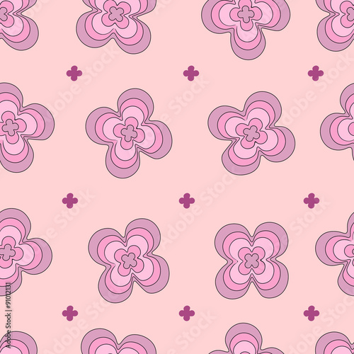 Bright seamless pattern with pink flowers