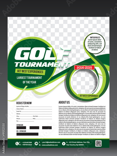 Golf Tournament Flyer Template  Buy This Stock Vector And Explore