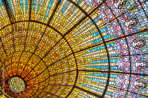 Fototapeta Stained glass ceiling of Palace of Catalan Music