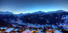 Panoramic View Of The Val D'Anniviers At Dusk, View From The Village Of St Luc. Canton Of Valais, Switzerland